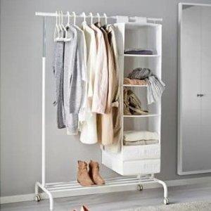 折后€25 超大容量Ikea 宜家落地衣架 开放式好收纳 简约白色 有轮子可移动