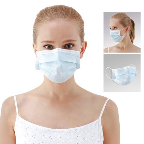 """Winner Medical Face Mask with Earloop-3Ply, Blue , 6.7""""x 3.5""""(17X9cm) ,50 Pcs/Box"""