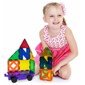 $30 PicassoTiles 60 Piece Set 60pcs Magnet Building Tiles Clear Magnetic 3D Building Blocks Construction Playboards - Creativity beyond Imagination, Inspirational, Recreational, Educational, Conventional