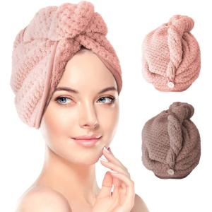 2个折后仅€12.99 原价€16.99RenFox 干发帽 超细纤维 柔软又吸水 头发不毛躁
