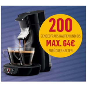 注册之后最多送价值64欧的多达200个咖啡padsPhilips Senseo咖啡机原价89欧 折后仅59欧 送超多咖啡pads