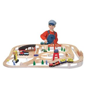 Melissa & Doug Deluxe Wooden Railway Train Set (130+ pcs) @ Amazon