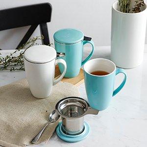 低至7.6折 €12.79收白色款闪购:Sweese 带过滤器茶杯 配杯盖 多色可选