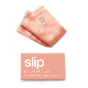 桃粉色真丝枕巾