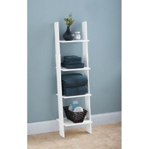 Hawthorne Place Wood Bathroom Linen Ladder, White