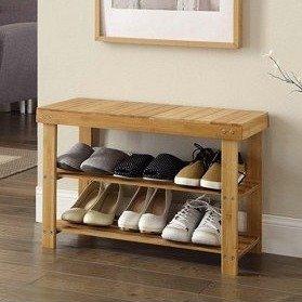 $30.98Ktaxon 原木色简易双层鞋架 可当换鞋凳
