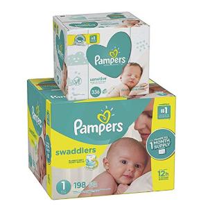PampersSwaddlers 尿不湿1号, 198 片+336 抽湿巾
