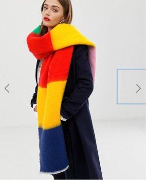 ASOS DESIGN oversized long rainbow block stripe scarf