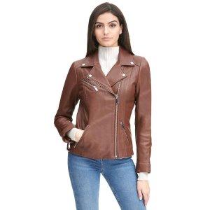 Wilsons LeatherDesigner Brand Asymmetrical Zip Leather Jacket w/ Metallic Details