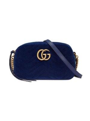 Gucci GG Marmont Velvet Small Shoulder Bag | Farfetch.com