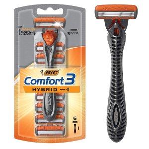 BIC Comfort 3 三重刀片 剃须刀套装+6件替换刀头