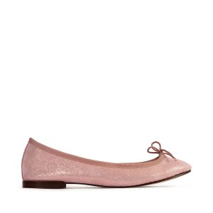 Repetto35码亮片粉色平底鞋