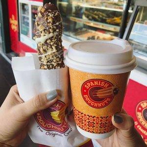 $4.95 (原价$11.4)墨尔本Spanish Doughnuts 3个甜甜圈棒+咖啡团购