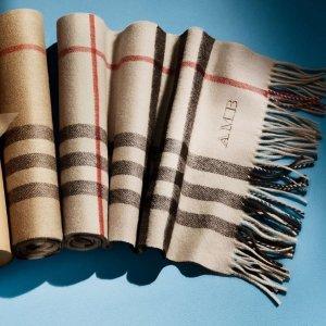 低至7折+再送$50礼卡 入温暖大格子Burberry 英伦风格子羊绒围巾,丝巾等