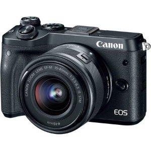 $599 (原价$899.99)Canon EOS M6 APS-C 无反相机 + 15-45mm 镜头