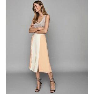 ReissAbigail Nude Pleated Midi Skirt – REISS