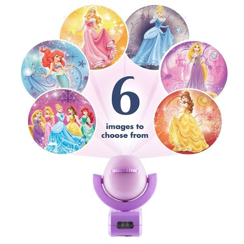 Amazon Projectables Disney Princess 6-Image LED Night Light Projector, Dusk-to-Dawn Sensor
