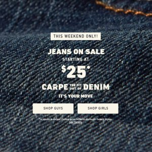 Starting From $25Jeans @ Hollister