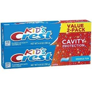 Crest 儿童含氟牙膏,2支装,糖果口味