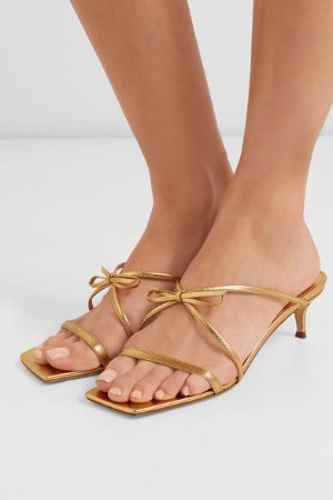 BY FAR | January bow-detailed metallic leather sandals | NET-A-PORTER.COM