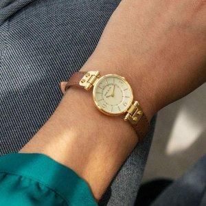 限时秒杀¥208Anne Klein 棕色皮质表带 女士石英腕表