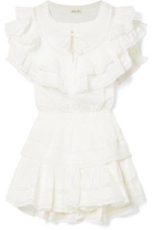 Liv ruffled crocheted lace-trimmed cotton mini dress