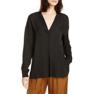 VinceRib Trim Silk Blouse