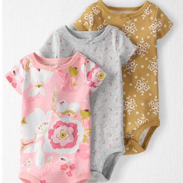 婴儿有机棉印花包臀衫3件套