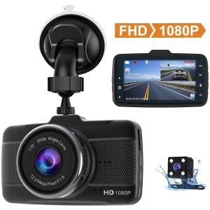 $54.99(原价$75.69)Claoner FHD 1080P 170°行车记录仪 安心开车必备