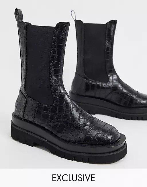 鳄鱼压纹切尔西厚底靴
