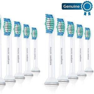 每个仅€2.4 三个月一换哦Philips 飞利浦 Sonicare 标准清洁刷头10个装 1.5倍清除牙菌斑