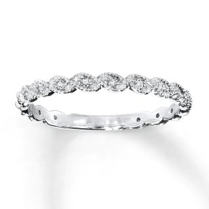 Diamond Ring 1/10 ct tw Round-cut 14K White Gold|Kay