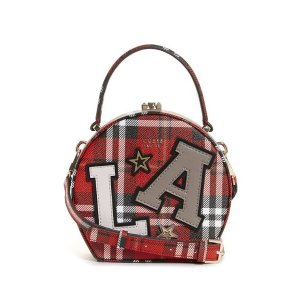 GuessLizzy Plaid-Print Round Mini Satchel at Guess