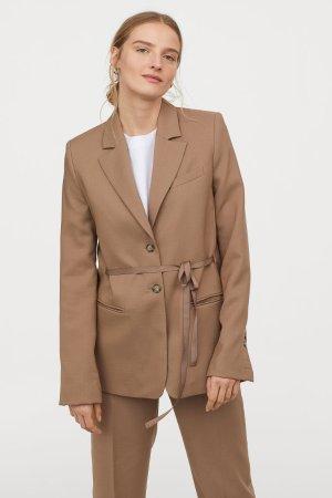 Wool Jacket with Ties - Taupe - Ladies | H&M US