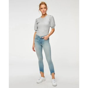 7 For All MankindThe Ankle Skinny with Wave Hem in Grace Blue
