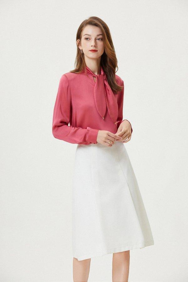浪漫玫瑰法式真丝上衣 (玫粉色)