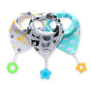 8.5折 平均每个$1.61起Vuminbox Bandana Drool 宝宝100%有机棉围嘴 + 牙胶,3条装