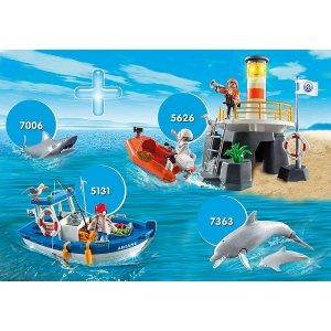 Playmobil鲨鱼 海豚母子 钓鱼船 海岸警戒队水上世界4件套装