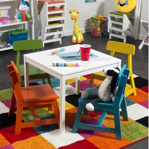 Today Only:Lipper International White & Jewel-Tone Kids Table Set