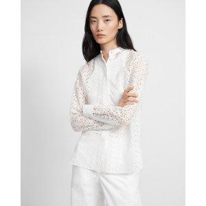TheoryCombo Shirt in Daisy Eyelet Cotton-Silk