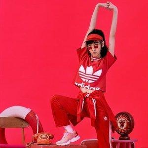 满额7.5折  少女T$21Adidas 童装热卖  收大童粉色系运动装、小粉鞋