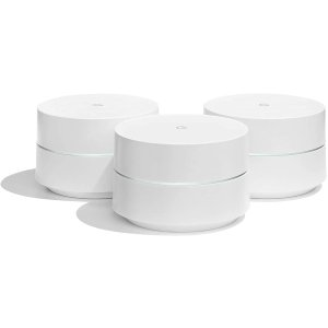 GoogleWiFi System, 3-Pack - Router Replacement for Whole Home Coverage (NLS-1304-25) (Renewed)