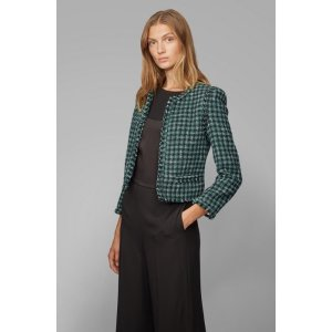 Regular-fit jacket in checked tweed with fringed edges