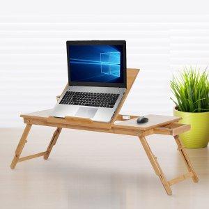 $59.79(原价$129.99)闪购:Aosom 可调节式竹制笔记本电脑桌 带抽屉 折叠腿 随用随放