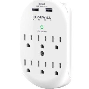 $12.99Rosewill 6口插座 带两个USB充电口(2.4A)