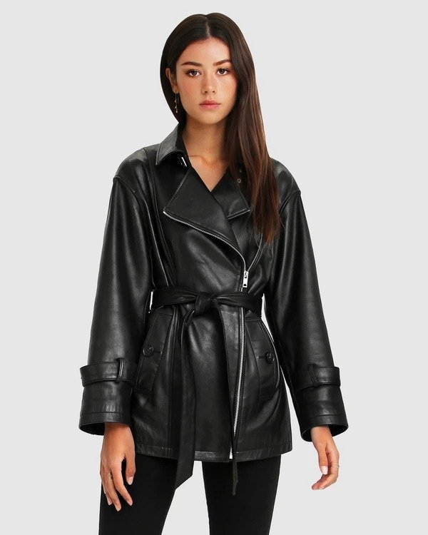 BF风衣式皮夹克