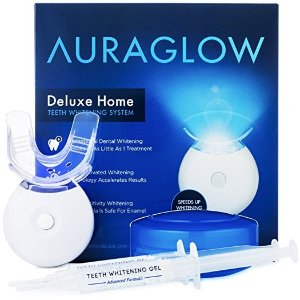 $32.9970% Off  AuraGlow Teeth Whitening Kit LED Light 35% Carbamide Peroxide 5ml Gel Syringes Tray and Case