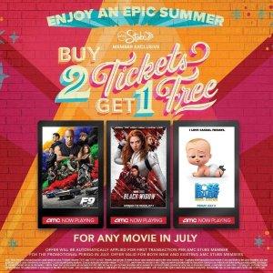会员购票买2送1AMC Theatres 电影票7月特惠,任意尺寸经典爆米花️无限续
