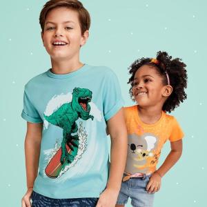 低至2折 单件$1.9起The Children's Place 图案T恤专场 2件装$7.99 3件装$11.99