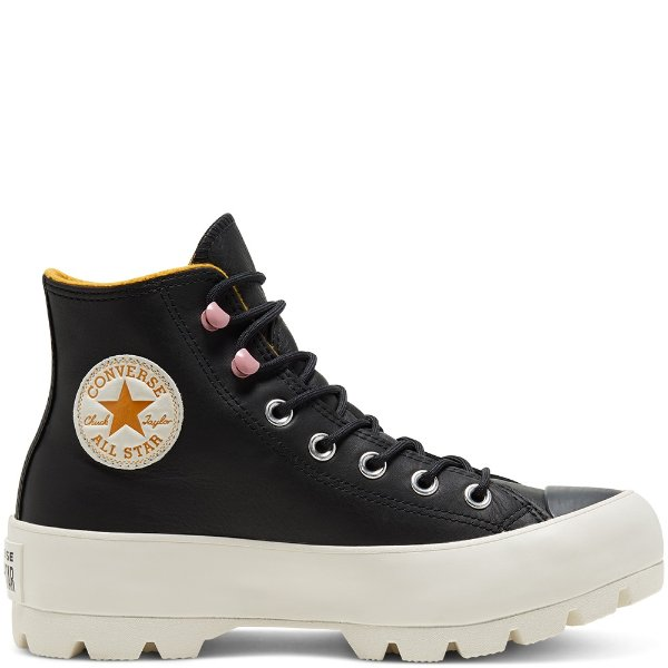 黑色高帮厚底鞋